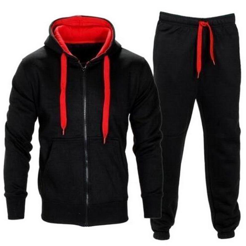 Casual Hoodies Fatos Solid 2 peça Homens Set Autumn Lace Up com capuz jaqueta de moletom com cordão Calças Ternos Mens Sportwear