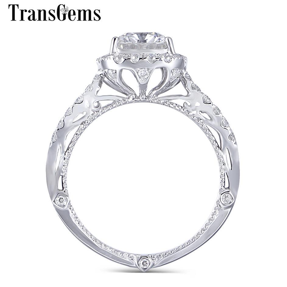 Transgems 14 k Beyaz Altın Mozanit Vintage Nişan Yüzüğü Merkezi 2ct 7x8mm F Renk Yastık Cut Mozanit Halo Nişan Yüzüğü Y19061203