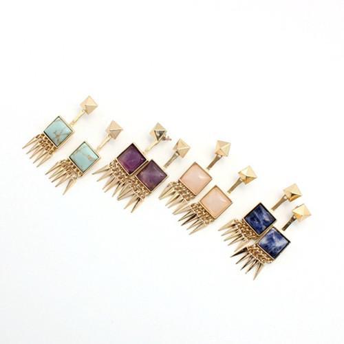 Venta al por mayor 10 pares Pendientes chapados en oro Pendientes Forma cuadrada Piedra de amatista para mujeres Joyería de cuarzo Rose