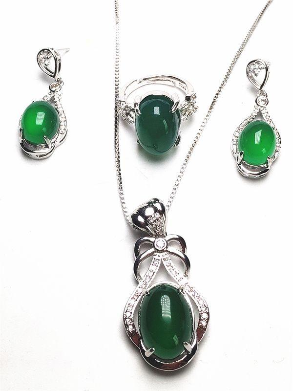 3pcs 925 Sterling Silver Natural Green Jade Gemstone Pendant Necklace Bracelet Earrings Women Jewelry Set
