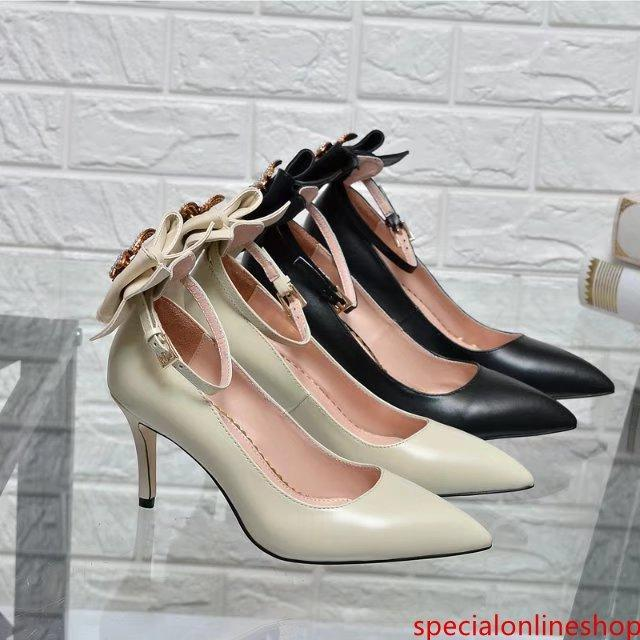 2019 Top Quality Letter Bee Metal Buckle Pointed High Heel shoes Genuine leather Pearl Bow Woman Dress Shoes With Box