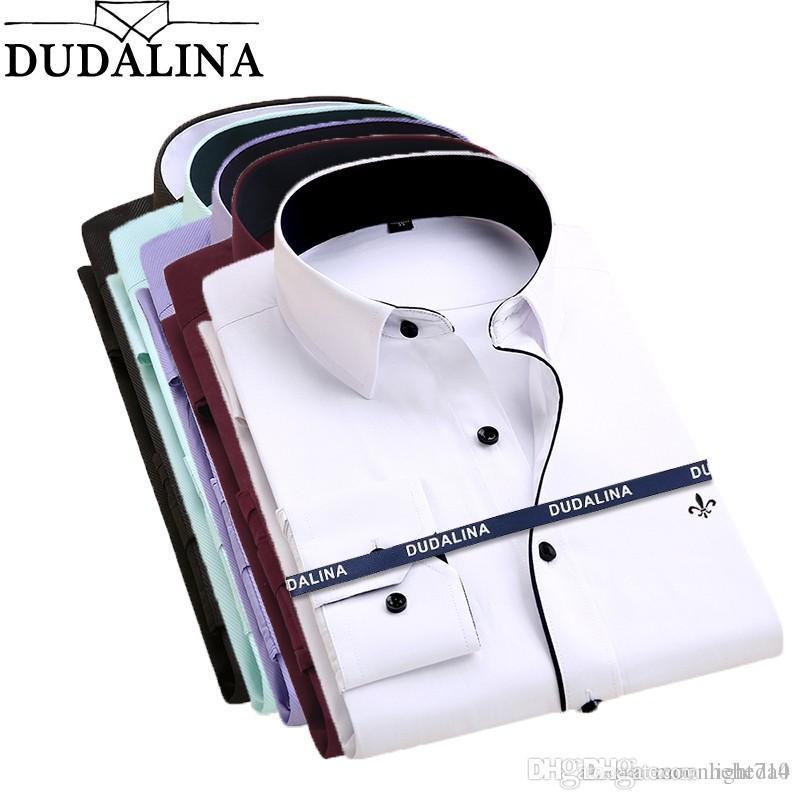 Dudalina Камиза Мужские рубашки с длинным рукавом рубашки Марка одежды Casual Slim Fit Камиза Социальный Полосатый Masculina сорочка Homme