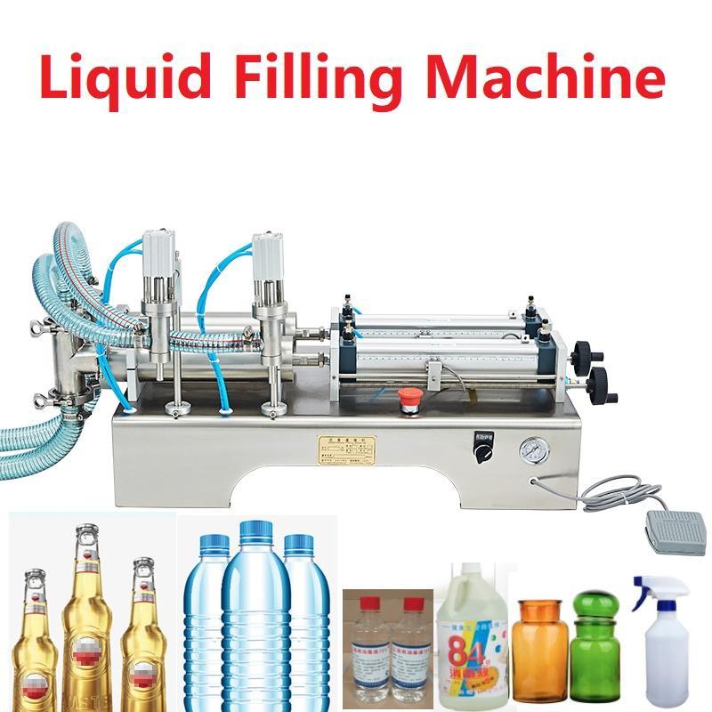 100-1000ml 110V eléctrico automático de la máquina de llenado de líquido neumático de doble cabezas de acero inoxidable Champú Vino Perfume de llenado de líquido botella