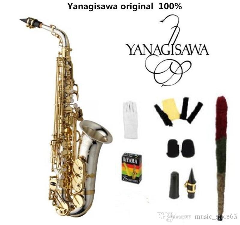 Top Brand NEW YANAGISAWA A-WO37 Alto Saxophone Mib Tune Musica placcatura d'argento Gold Key professionale Sax Bocchino libero