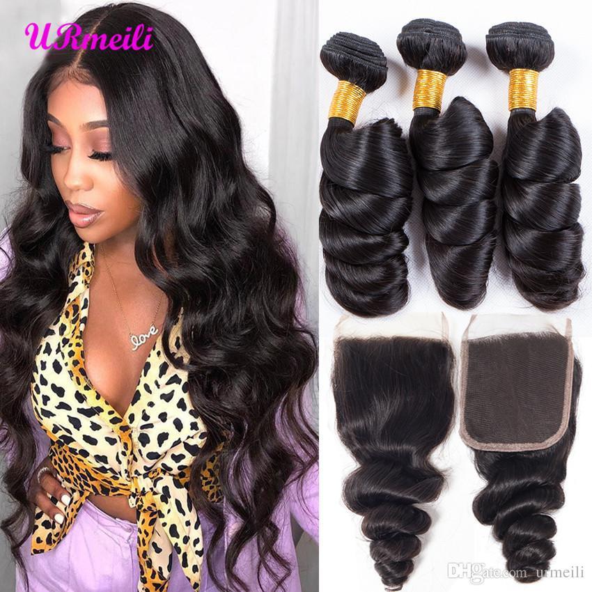 Pacotes de onda solto com fecho pacotes de cabelo brasileiro weave com fecho Pacotes de remy molhado e ondulado cabelo humano com fecho