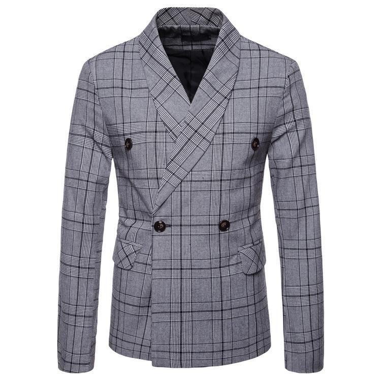 veste de costume mode des hommes coréens Slim coréenne à double boutonnage printemps nouveau costume petit plaid affaires