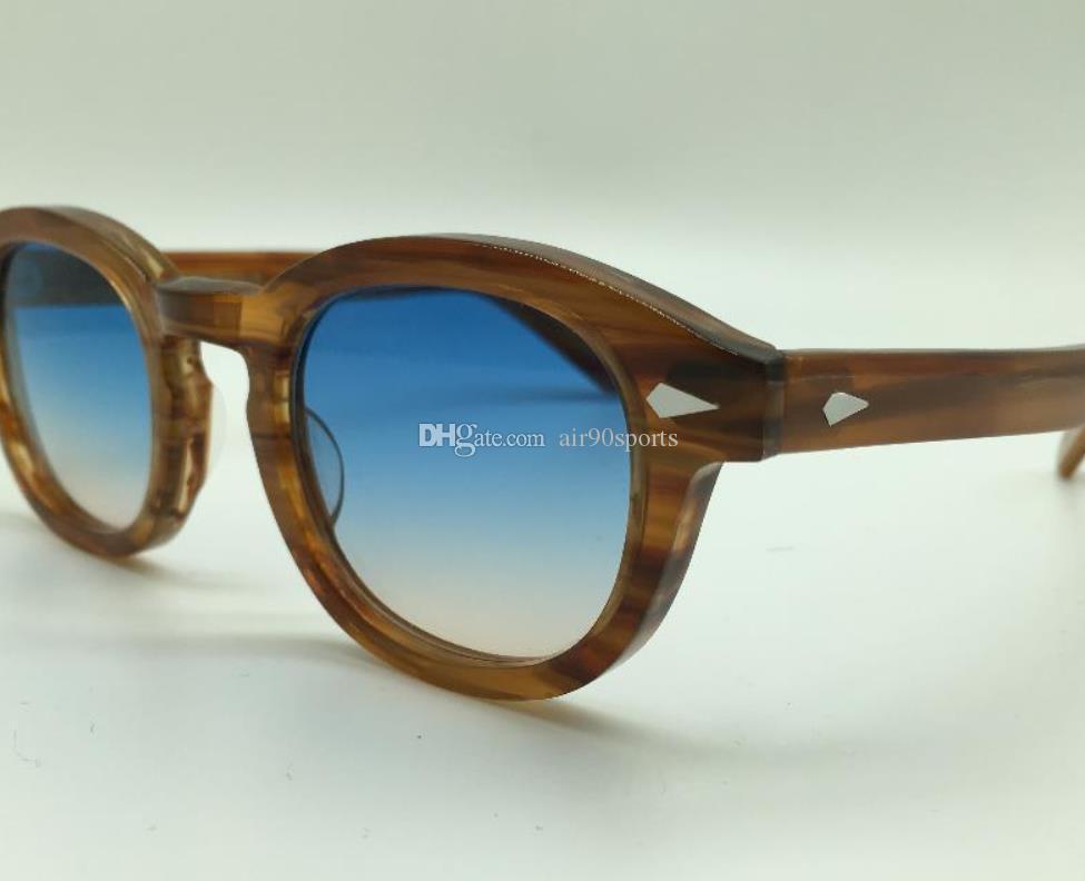 Hurtownie Moda Lemtosh Styl Okulary Stylowe Wysokiej Jakości Vintage Round Johnny Depp Okulary Okulary Blue-Brązowe Okulary przeciwsłoneczne