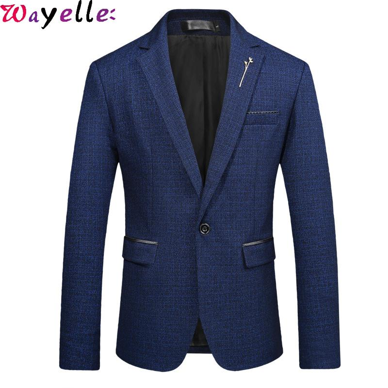 Erkekler Blazer Ceket Slim Fit Erkekler Ceket Coat Masculino 5XL için Blazer Stripped Blazers İş / Gündelik Şık Takımları