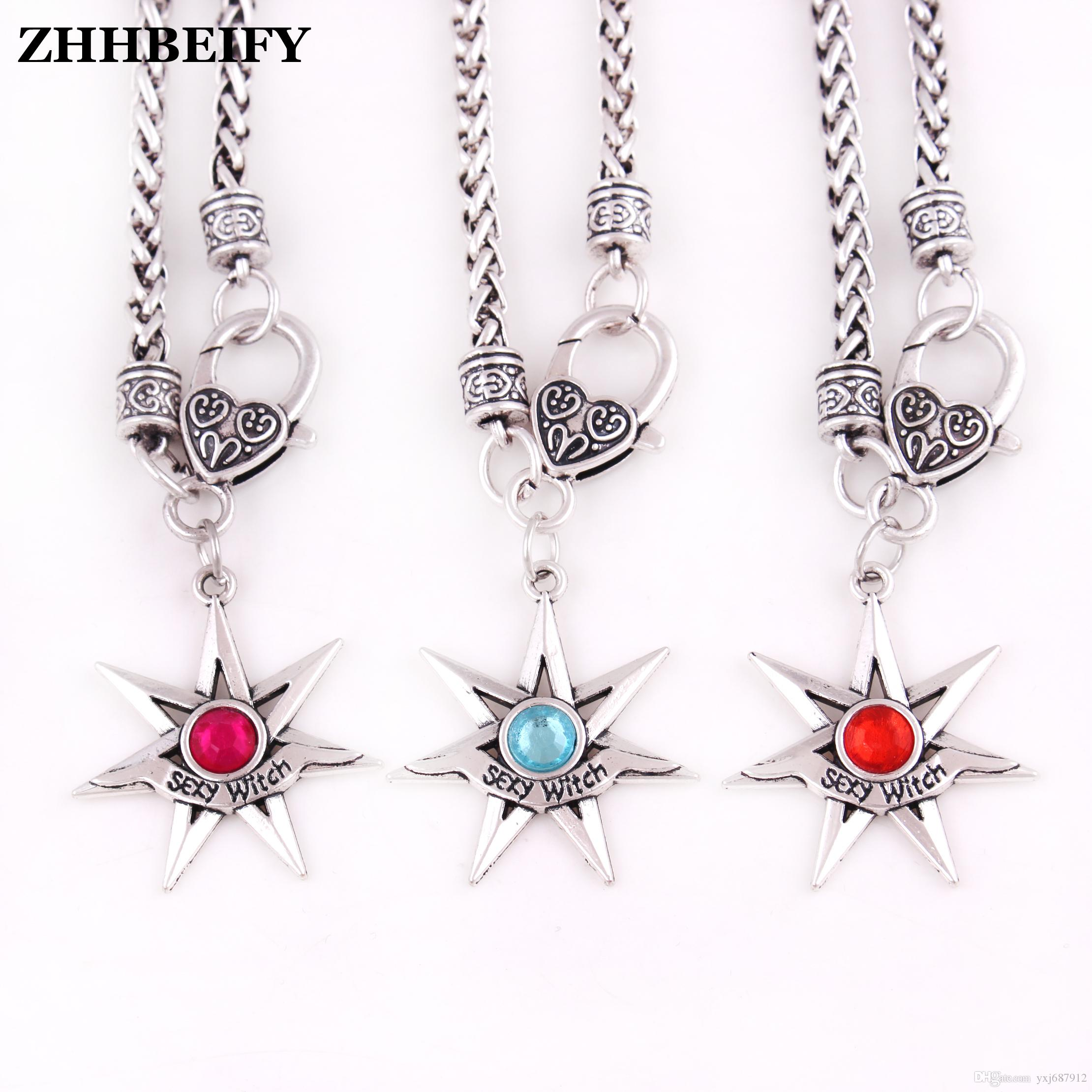 L35 Drop shipping Fashion Sexy Witch Pendant wheat link chain Necklace FAERY STAR pendant with crystal choice - Fairy Fae Magick