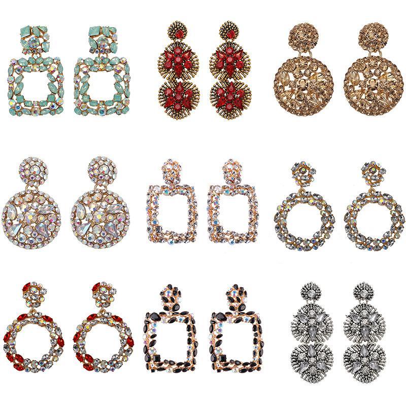 Gros-design exagérée géométrie diamant circulaire ronde boucles d'oreilles pendentif en cristal strass colorés pour les femmes filles
