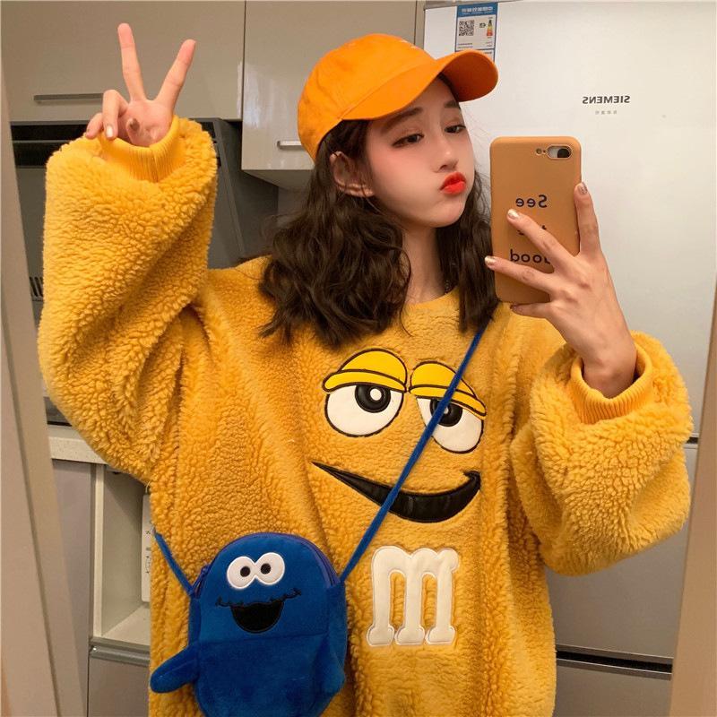 Harajuku otoño invierno la camiseta de las mujeres caliente paño grueso y suave capa de la chaqueta con capucha gruesa casual de dibujos animados sólido femenino Outwear Y200706 flojo lindo