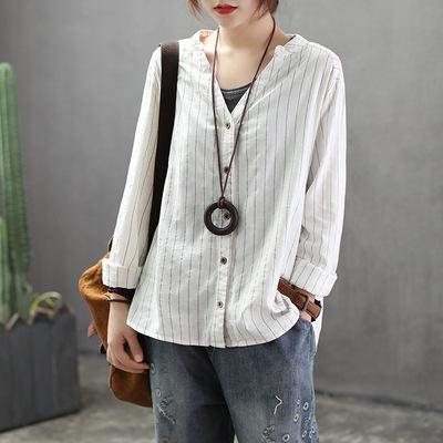 QPFJQD 2019 Spring Autumn Women Blouse Cotton Linen V-Neck Long Sleeve Work Shirts Women Office Tops Striped Blouse For Business