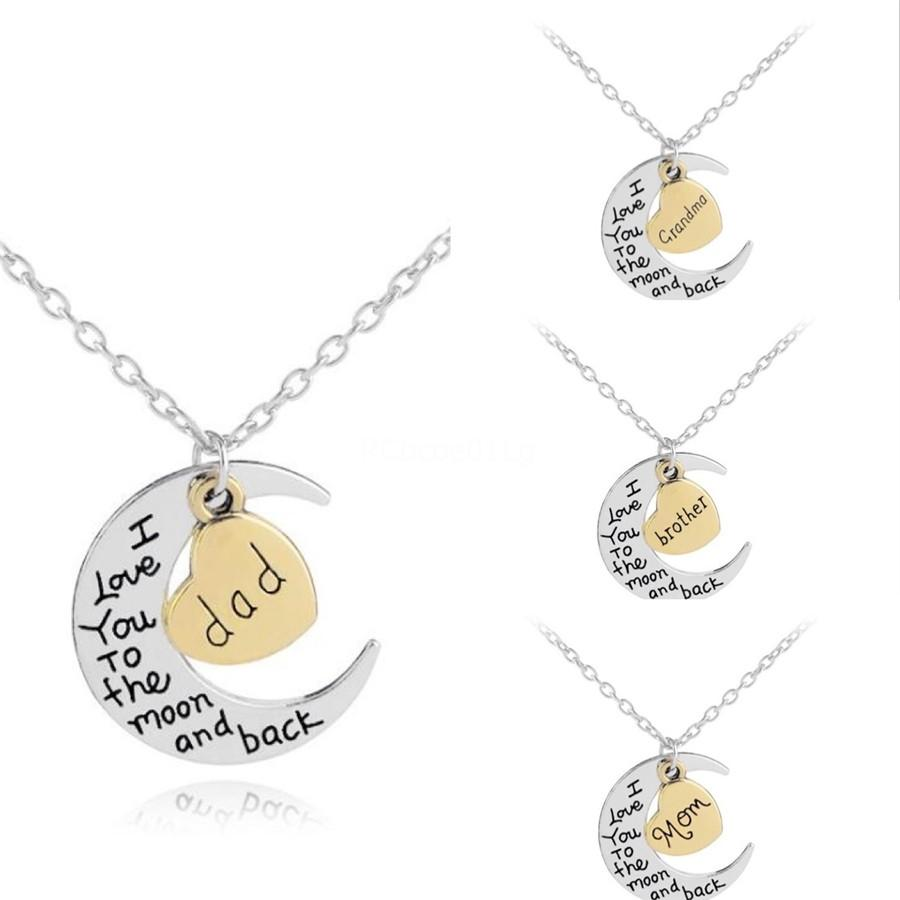 Letter Pendant Necklaces Silver I Love You To The Moon & Back For Mom Sister Family Word Pendant Link Chain Sweater Necklace Christmas Gi#709