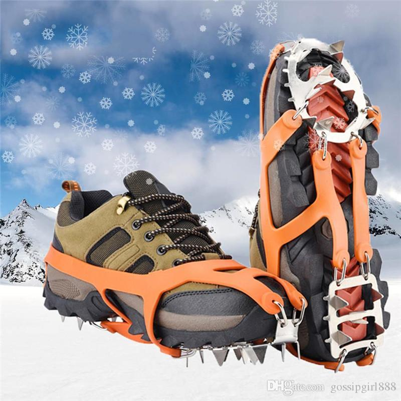 18 Dientes Claws de Acero Inoxidable de Crampones Antideslizante Ice Craat Crampones para Picos de Hielo Hiking Camping Crampones