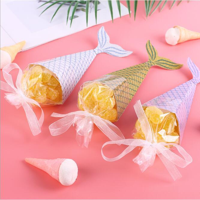 100pcs 2019 NEW Mermaid Candy Box Wedding Favors Gifts Boxes Chocolate Box With Ribbon Giveaways Boxes