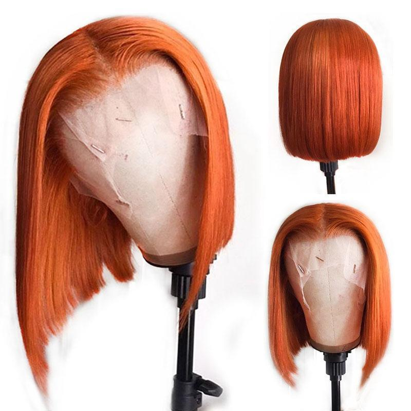 Ginger Orange Colored Full Lace Human Hair Wig Straight Short Bob Lace Front Wig Pixie Blunt Cut Brazilian Remy Wig For Women