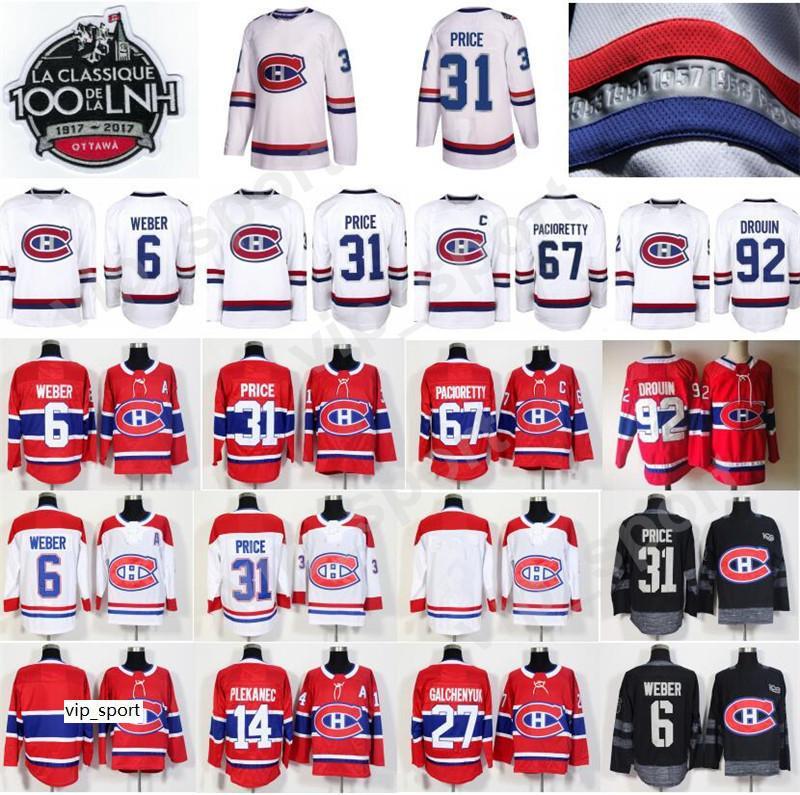 100 클래식 하키 유니폼 몬트리올 캐나다 최대 Pacioretty 저지 남성 31 캐리 가격 6 시어 웨버 65 앤드류 쇼 레드