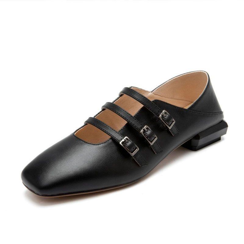 Kadın Yeni Gerçek Deri Moda Düz Bale Ayakkabıları Lady Mary Jane ayakkabı Rahat Rahat Günlük Mules