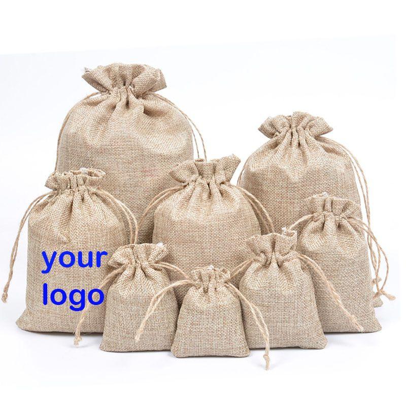 كيس كيس من الخيش الرباط حمل رسم سلسلة حقيبة هدية أكياس تخزين الجوت كيس من الخيش يقبل الشعار مخصصة