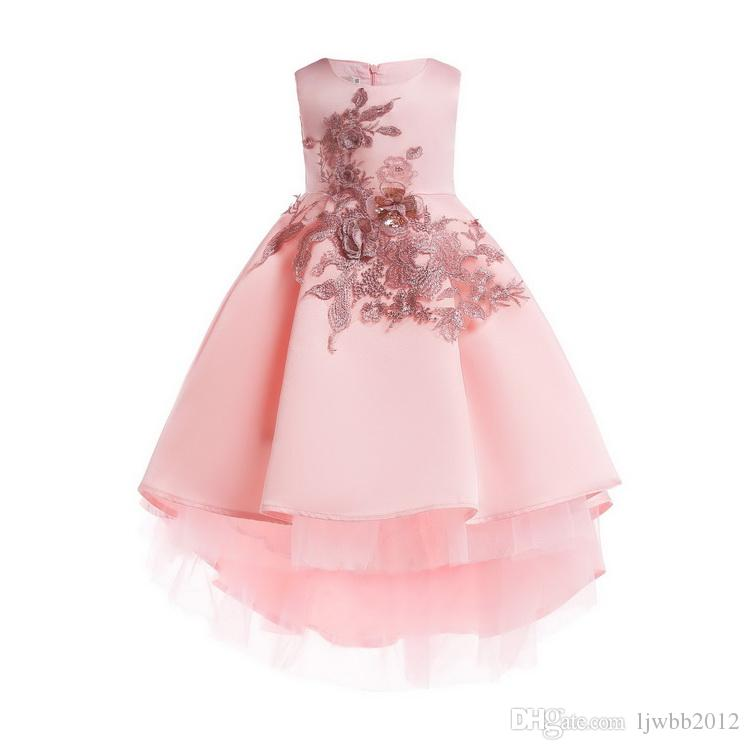 Girl Dresses Lace Princess Skirt With Flower Embroidery And Asymmetrica Design Pleated Formal Wedding Party Ball Gown