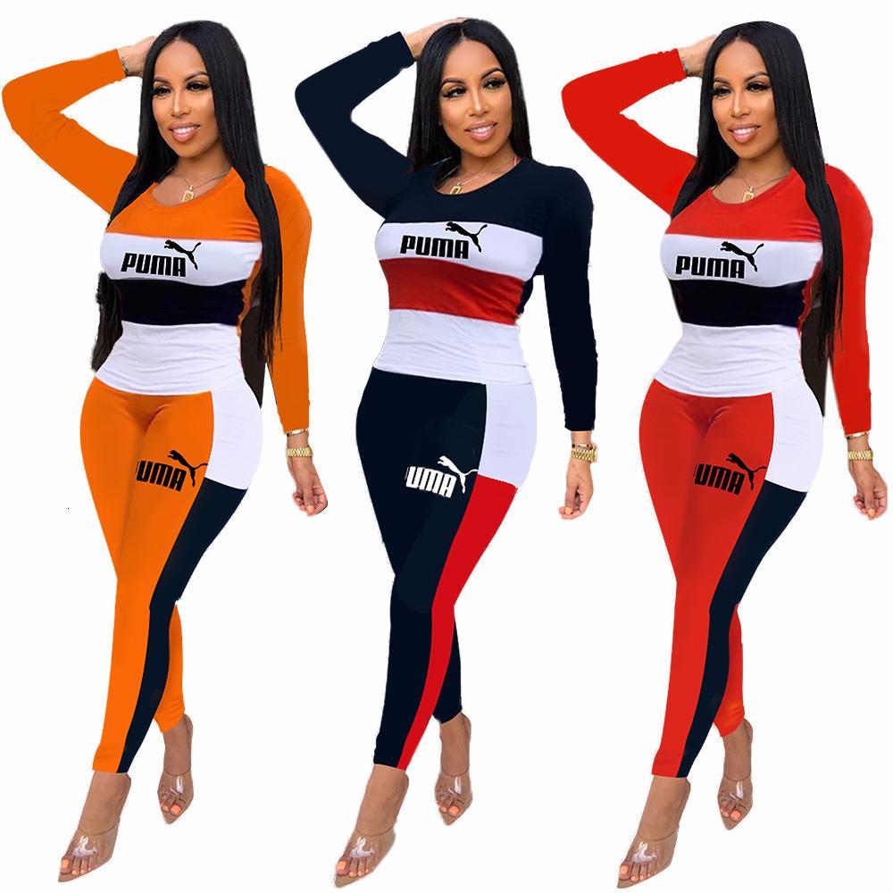A6266 señoras de dos piezas de las letras de la moda estadounidense trajes de las mujeres del color del golpe Europea y pantalones de manga larga cuello redondo traje women8787