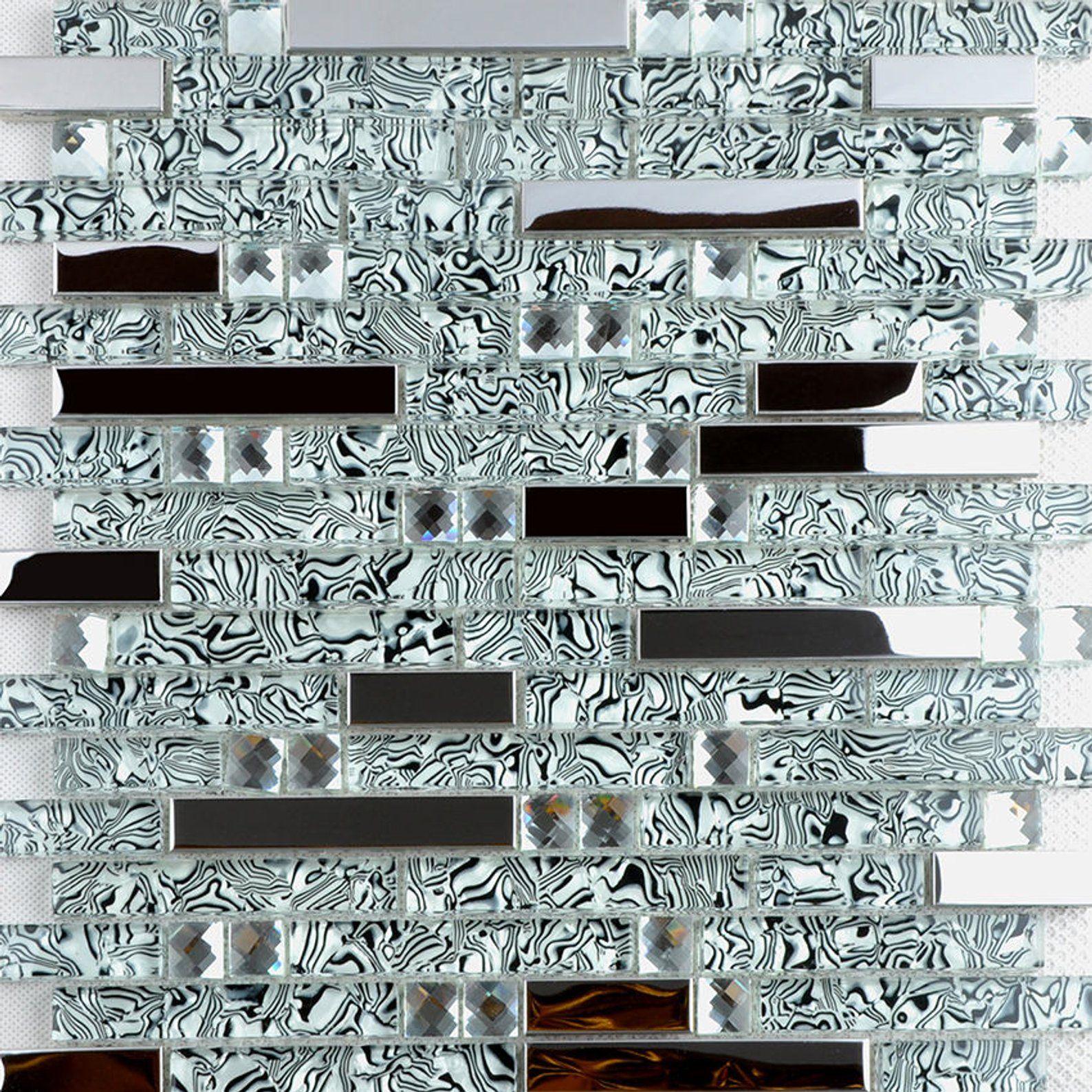 - 2020 Black White Glass Mosaic Silver Metal Kitchen Tile Backsplash
