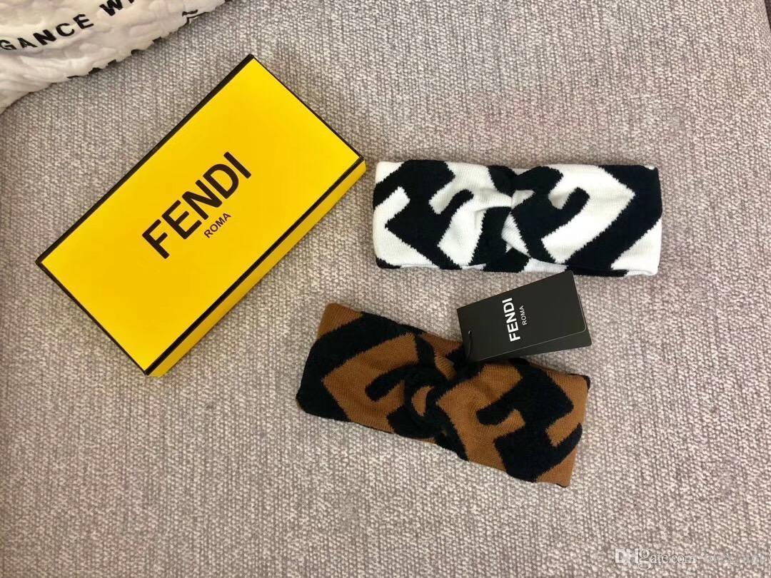 New Designer F Donna Inverno caldo lana croce fascia Marca ragazza elastico retrò headwraps turbante regali