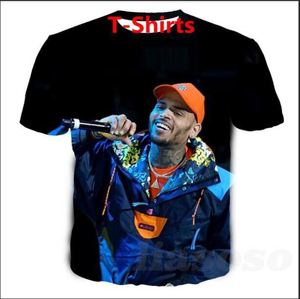 Ventas calientes 2019 Big Yards T-Shirt Mujer Hombre Chris Brown Impresión de sublimación 3D T-Shirt Ropa de verano Camiseta DRW0124