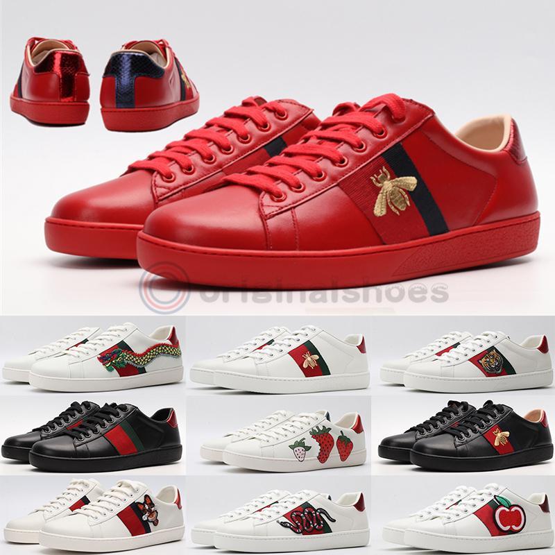 Gucci 2020 Italien Vintage-Ace Bee Schuhe Mode Luxus-Plattform-Kleid-beiläufige Männer Frauen Schuhe Schlange Sterndreifach Rot Weiß Echtleder Designer-Turnschuhe