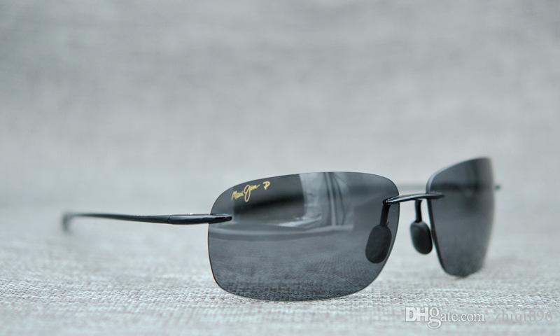 6267f3e1a43 ... Maui Jim Breakwall 422-02 Polarized Gloss Black Rimless Frame Sunglasses  men women ...