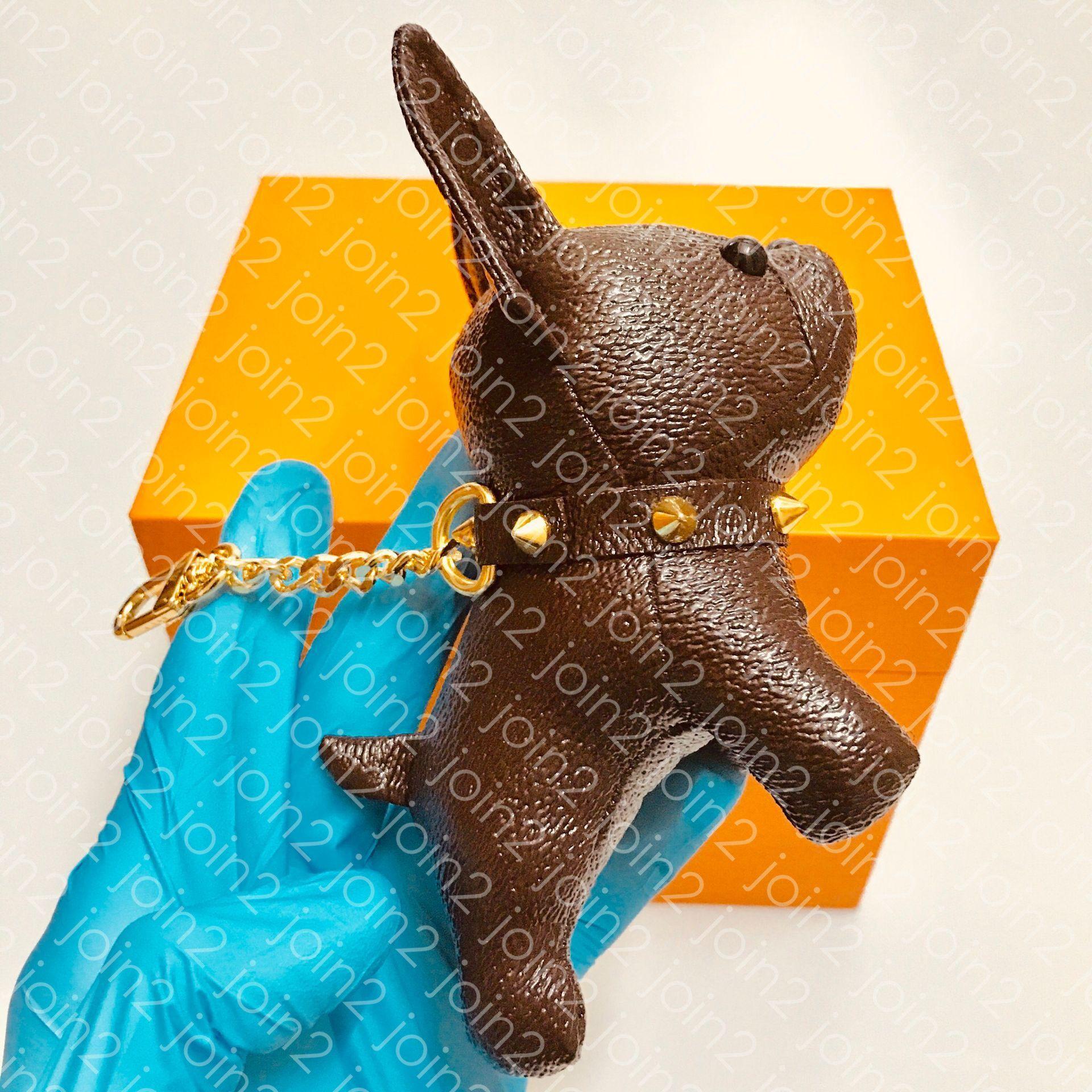 TITULAR bulldog perro del encanto del bolso CLAVE para mujer diseñador de moda Nombre de la etiqueta del bolso florecimiento de las flores del encanto de lujo Brown con monograma lienzo de edición limitada