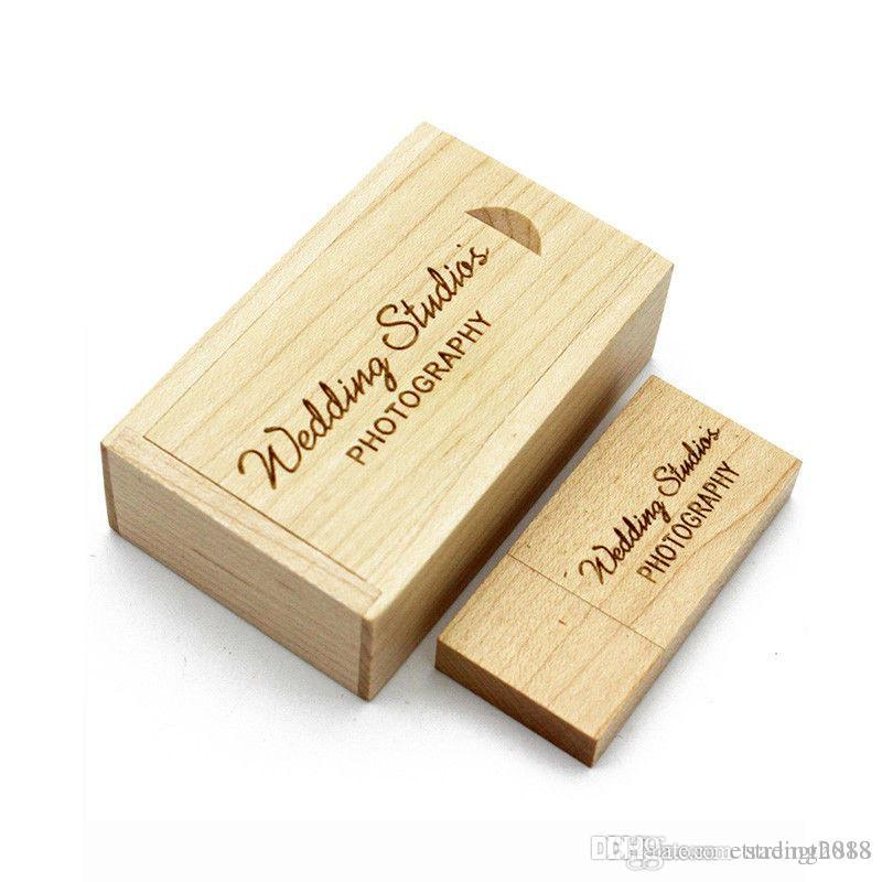 New Engraved Maple Wooden USB Flash Drive USB Box Wedding Photo Memory Storage Disk