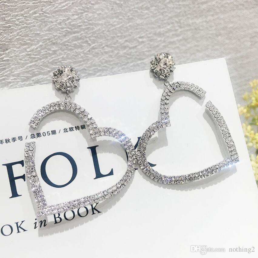 designer jewelry large heart earrings huggie silver needle unfilled corner heart earrings for women hot fashion