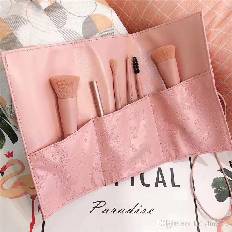 Mini Makeup Brush Set 6pcs Travelling Portable Foundation Loose Powder Brushes Kit Eyeshadow Concealer Eyebrow Pink Make Up Brushes with bag
