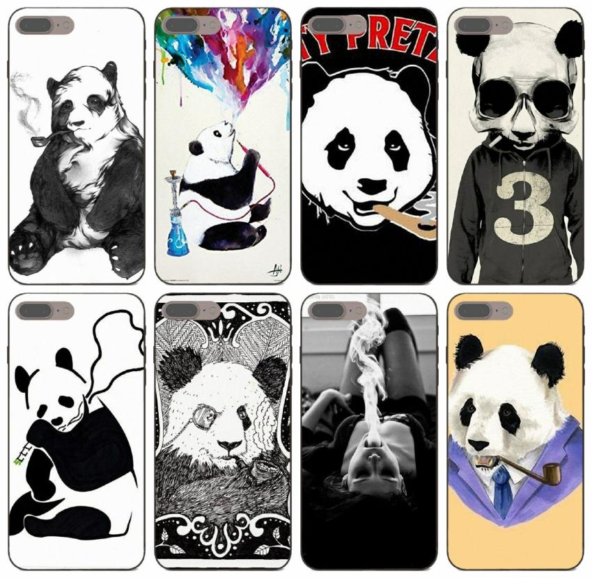 [TongTrade] Unique Panda Smoking Case For iPhone 8 7 6s 5s Plus 11 Pro Max X XS Samsung Note 10 Honor 6 6A 6C Pro Xiaomi CC9e Silicone Case
