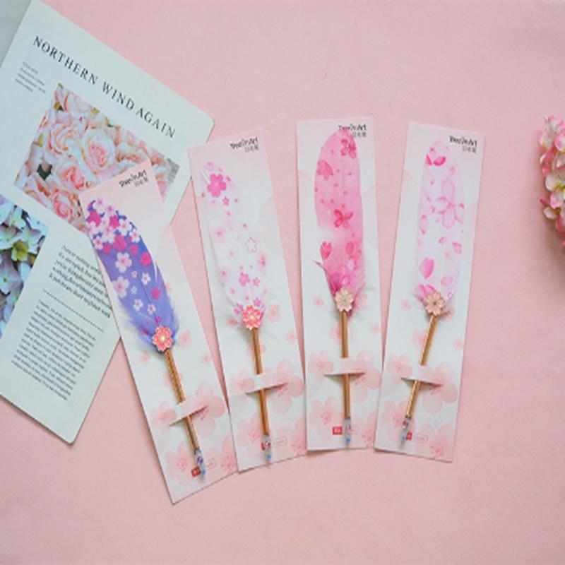 새로운 벚꽃 깃털 블랙 코어 중립 펜 크리 에이 티브 플러시 귀여운 펜 편지지 학생 축제 선물