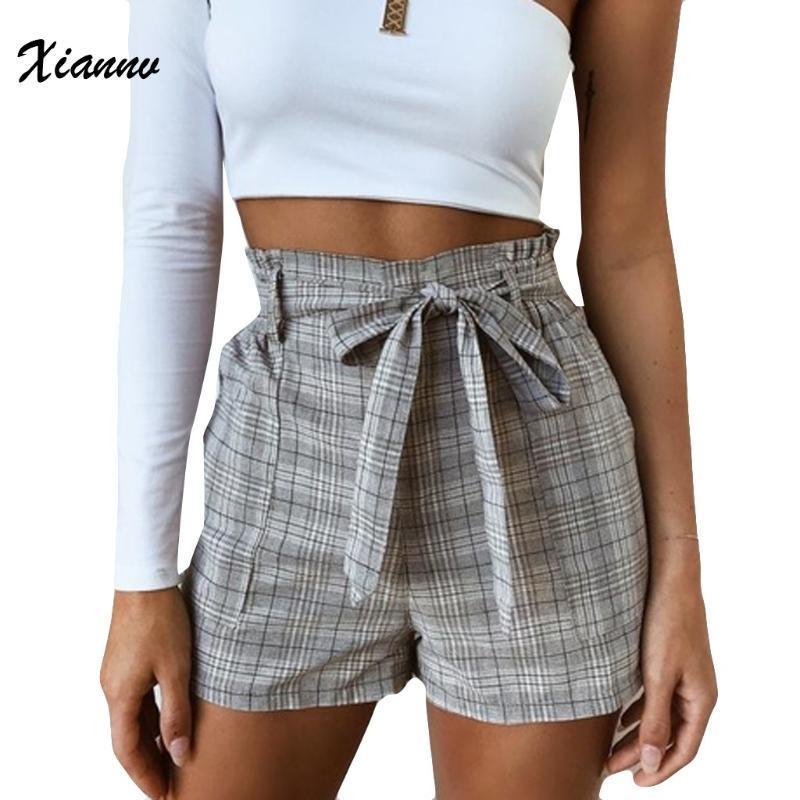 Damen Shorts 2020 Sommer-neue beiläufige kurze Hosen verknoten Taillen-dünne plus Größe Striped Straps Fashion Shorts für Frauen-heißen Verkauf