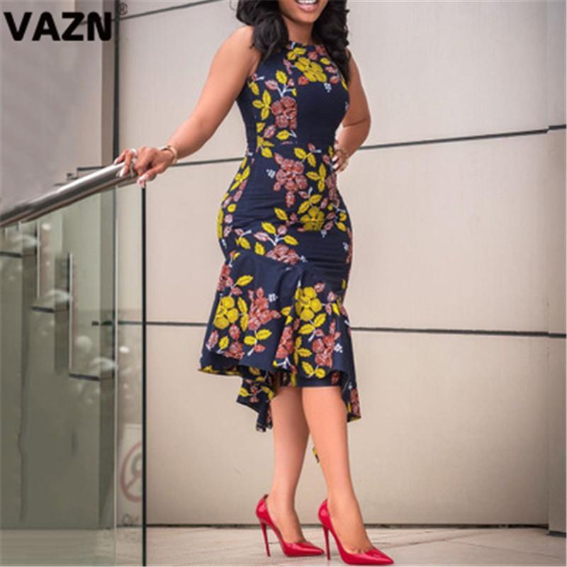 VAZN 2020 New Elégante âge mûr Vintage Bureau Daily Sexy Designer à manches courtes taille haute femmes mince sirène Robe mi-longue