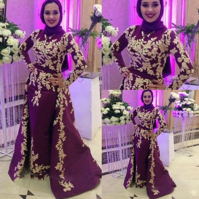2020 Burgundy Muslim Satin Mermaid Evening Dresses Prom Appliques Detachable Train Arabic Vestidos De Fiesta De Noche Robe De Soiree Plus Si