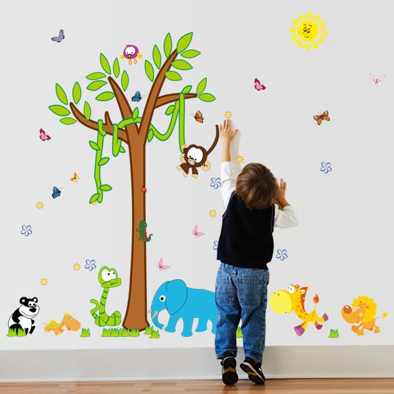 القرد الكرتون شجرة ملصقات الحائط لغرف الاطفال ديكور الحائط القابل للإزالة ملصق الفينيل ملصقات الحائط للأطفال الحضانة الرئيسية