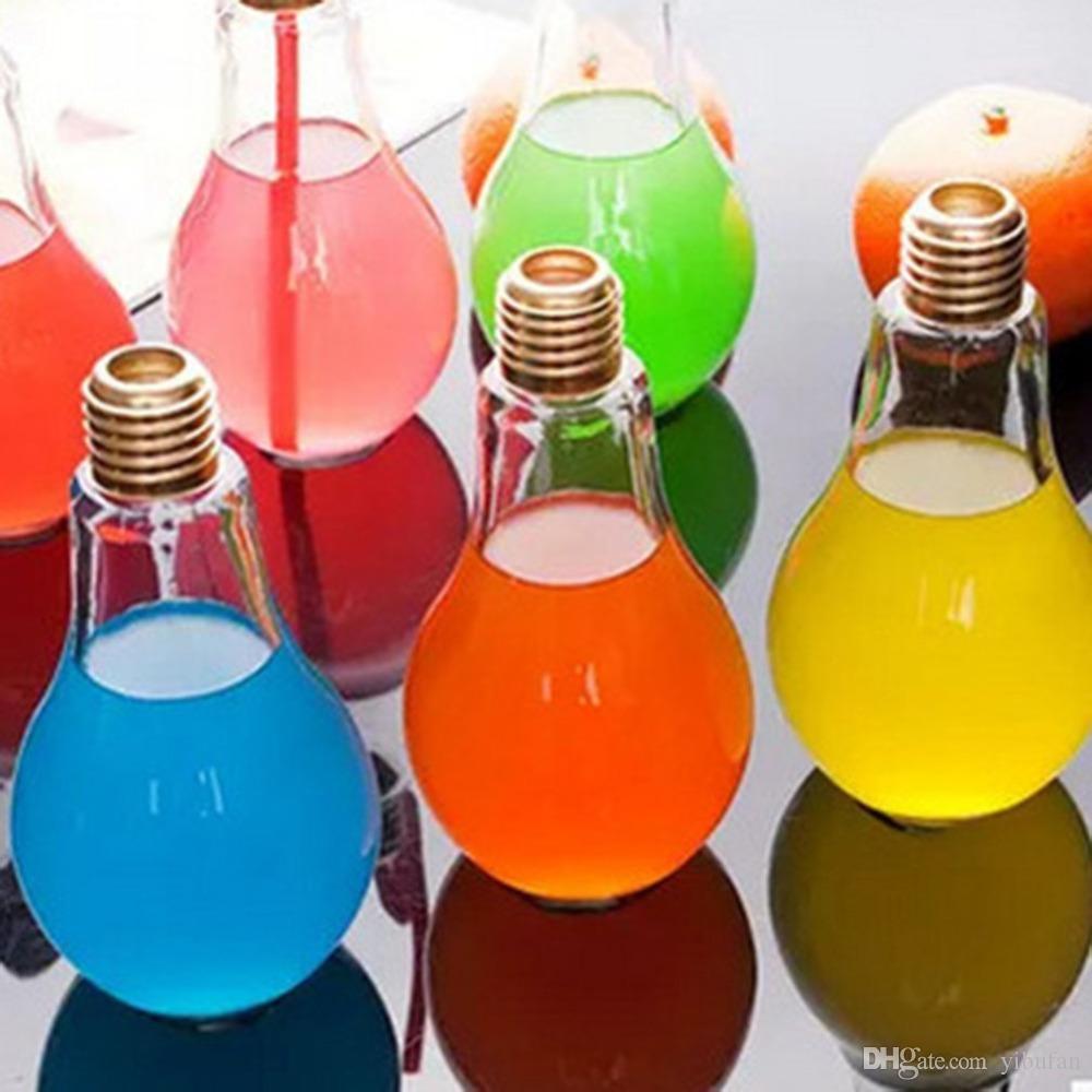 Leak-proof LED Glowing Bulb Water Bottle Brief Cute Milk Juice Light Bulb Cup US