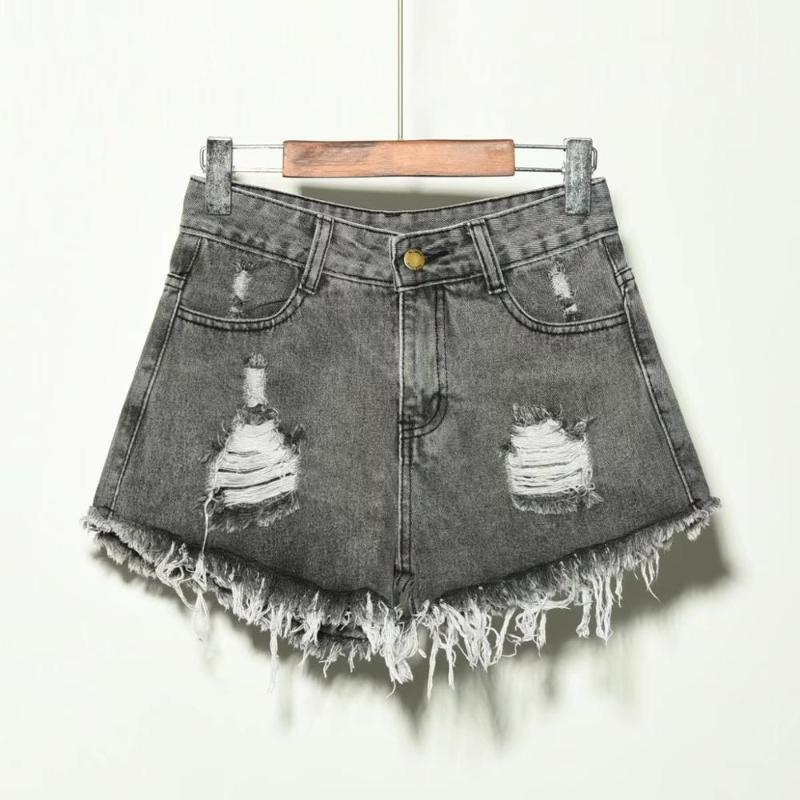 Women Shorts Jeans 9 Size S To 6XL Cotton Polyester Plus Big Size for Summer Denim Trousers Female Pants Black Blue Grey