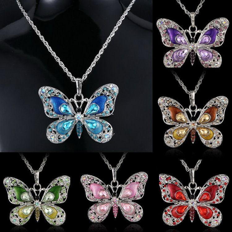 6 Renkler Moda Kristal Kelebek kolye Uzun Zincirli Kolye Kadın Elmas Hayvan Tasarım Yıldönümü Parti Takı