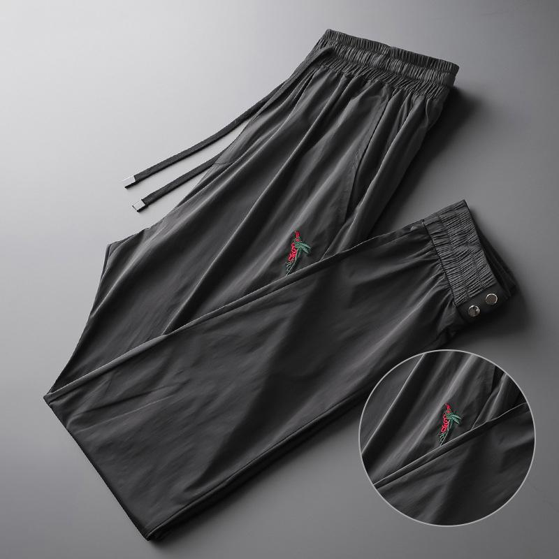 Summer 2019 light luxury trousers, trousers, double-row metal button sport trousers, embroidered bee tide leisure M-4XL