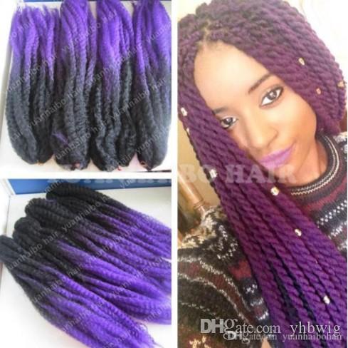 12 paquetes Cabeza completa Dos tonos Marley trenzado Hair 20 pulgadas Negro Púrpura Ombre Extensiones de cabello sintético Kinky Twist Braiding Fast Express Envío
