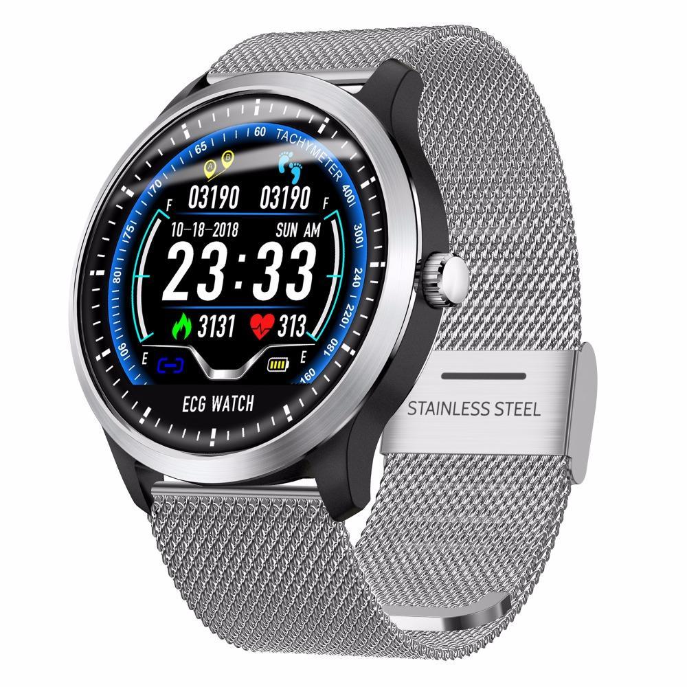 N58 ECG PPG الذكية ووتش رجال IP67 للماء الضغط الرياضة ووتش رصد معدل ضربات القلب الدم ساعة ذكية الرياضة مقياس الخطو للياقة البدنية سوار