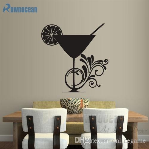 Modern Ev Dekorasyonu Duvar Vinil Sticker Mutfak Çıkartması Kokteyl Limon Kupası Kıvırcık Cam Vinil