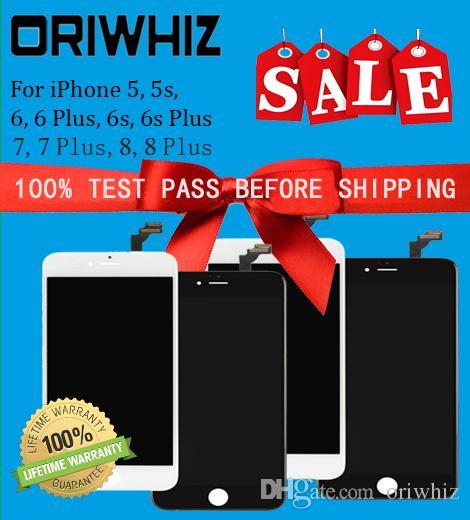 ORIWHIZ استبدال الشاشة لآيفون 5 5S 6 6 زائد 6S 6S زائد 7 8 LCD محول الأرقام الجمعية سطوع عالية أسود أبيض