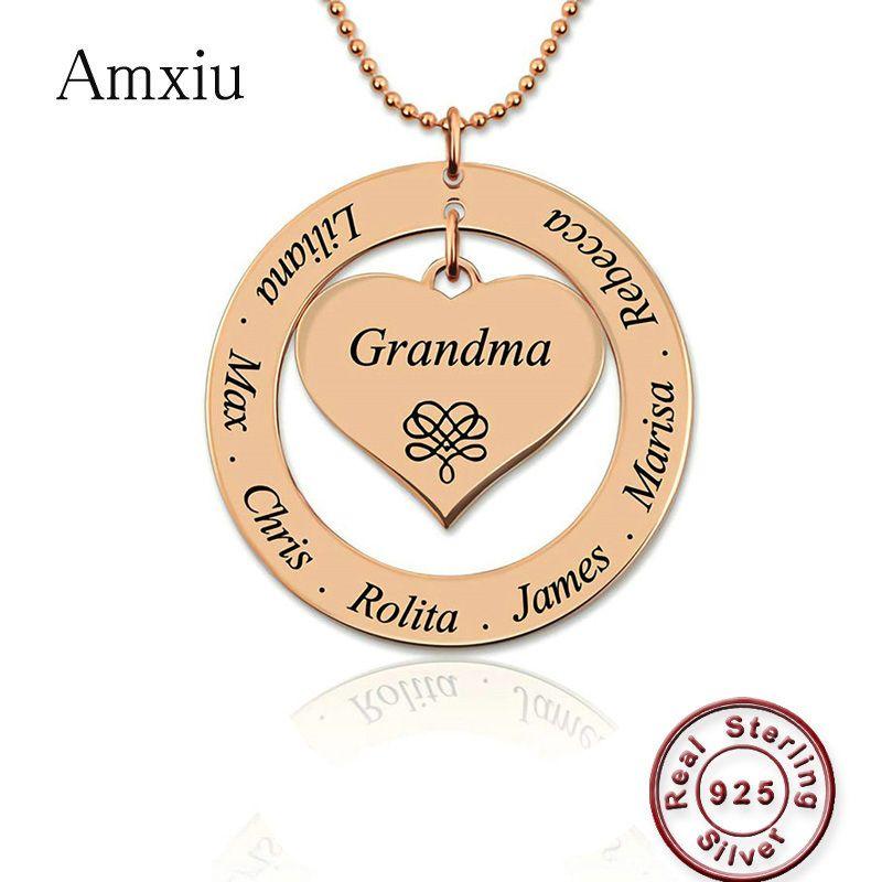 Amxiu персонализированные 925 Серебряное ожерелье выгравировать имя бабушка мама сувенир ювелирные изделия сердце кулон с именами детей День матери подарок