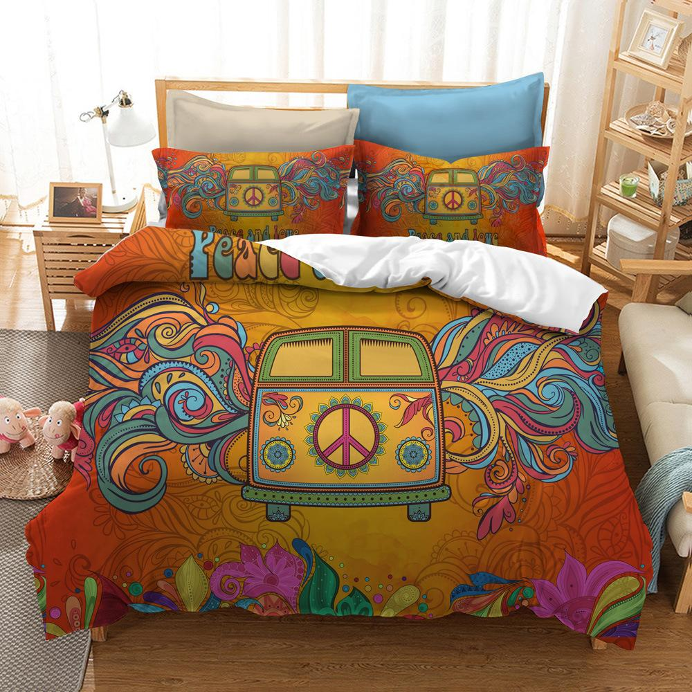 Hippie Bedding Set 3D Printed For Home Duvet Cover Set 2/3Pcs With Pillowcase Queen King 12 Sizes Bedclothes Home Textile
